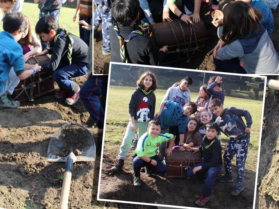 niños encontrando un tesoro kids finding treasure