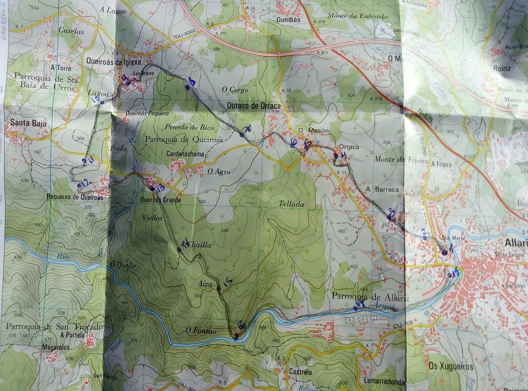 mapa topográfico ruta Allariz